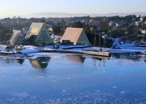 Fram Museum auf Bygdøy von der Seeseite aus
