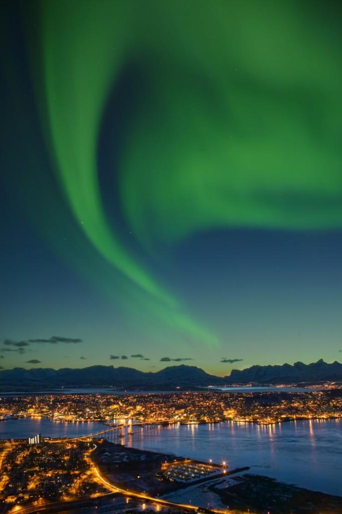 Nordlicht über Tromsø. Foto: Bård Løken/ Visitnorway.com