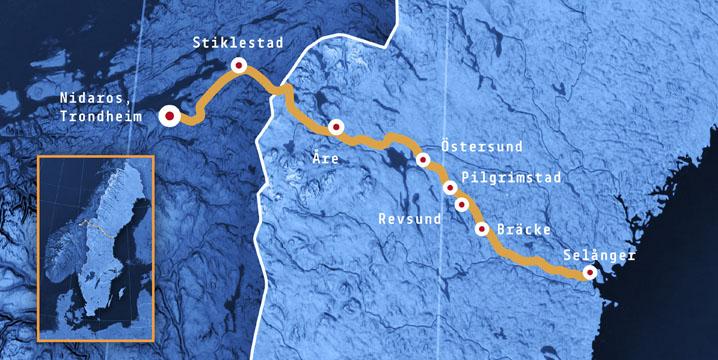 Die Strecke von Västernorrland quer durch Schweden bis Trondheim.